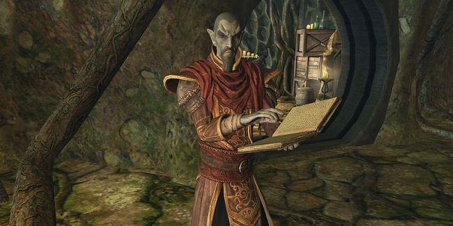 """Господин Нелот читает книгу Скриншот: """"UESPWiki"""""""
